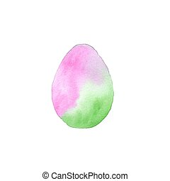 Easter egg. Vector illustration of watercolor egg with ombre effect. Easter decorative element.