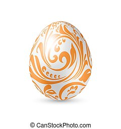 Easter Egg - White Egg with Floral Pattern Artistic Texture...