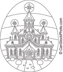 Easter egg with a church