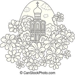 Easter egg with a church and flowers - Black and white...