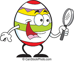 Easter egg with a magnifying glass.
