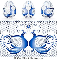 Easter egg with a pattern of stylized gzhel. Blue bird.