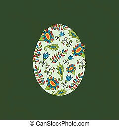 Easter egg with a pattern on a green background. Vector illustration.