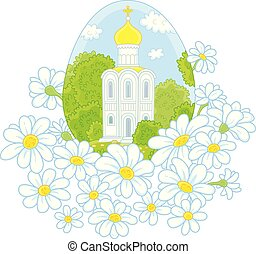 Easter egg with a white church and flowers - Vector...