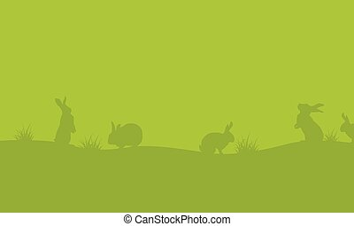 Easter egg with bunny on green backgrounds