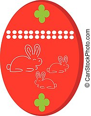 Easter egg with bunny on white background