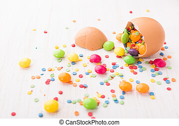 Easter egg with colorful candies.