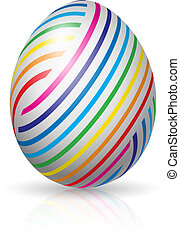 Beautiful easter egg with colorful stripes. Illustration on white background