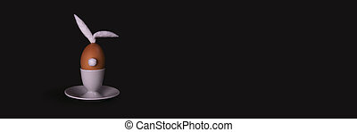 Easter bunny egg with cotton tail and ears on dark background with copyspace. Banner of moody minimalistic decoration concept. Stock photo.