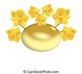 Easter egg with daffodils