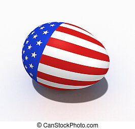 Easter egg with figure of a flag of USA