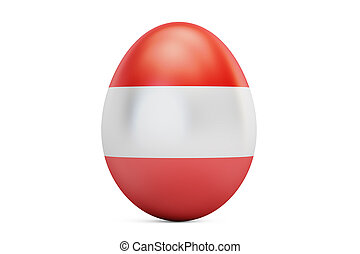 Easter egg with flag of Austria, 3D rendering