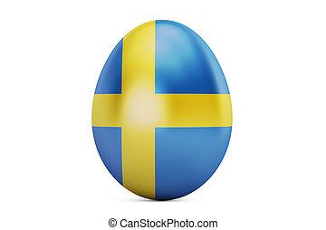 Easter egg with flag of Sweden, 3D rendering