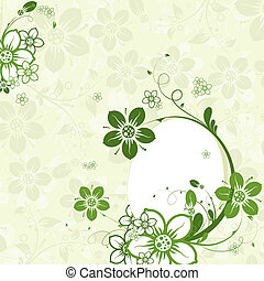 Easter egg with floral background, vector