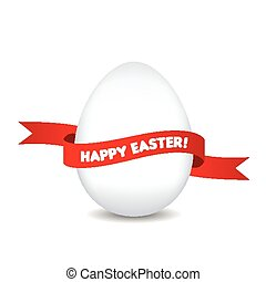 Easter egg with red ribbon isolated on white background