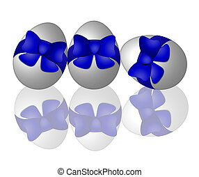 easter egg with ribbon blue