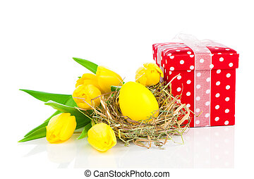 Easter egg with tulips, on a white background