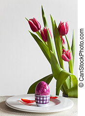 easter egg with tulips