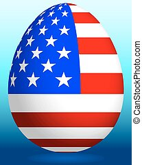 Easter egg with USA flag