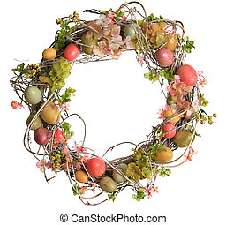 Easter egg wreath - Easter wreath with Easter eggs, isolated...