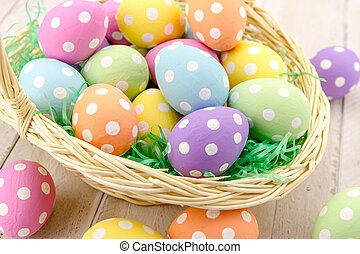 Easter Eggs and Baskets - Close up of Easter basket with...