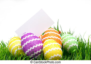 Easter eggs and blank note