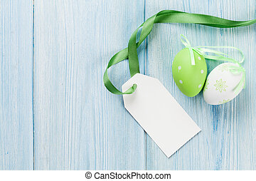 Easter eggs and blank tag label