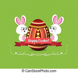 easter eggs and bunny greeting card