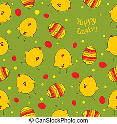 Easter eggs and chickens. Abstract seamless vector background.
