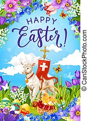 Easter eggs and chicks in basket with lamb of God