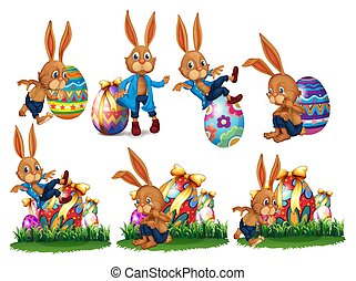 Easter Eggs and Funny Bunny