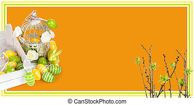 Easter eggs and funny bunny on orange background. Holiday ...