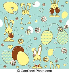 Easter eggs and rabbits, Easter vector seamless pattern.