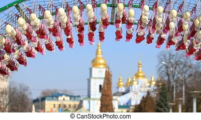 Easter eggs and saint Michael's cathedral in Kyiv, Ukraine
