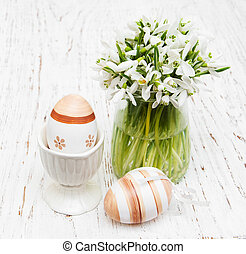 eggs and spring snowdrops