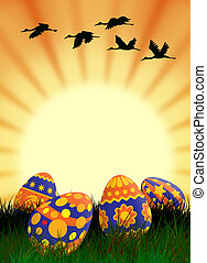Easter eggs and sun