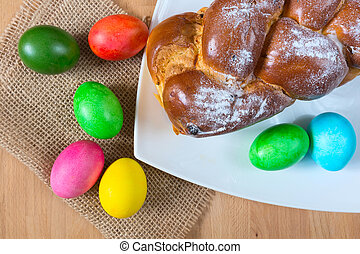 Easter eggs and traditional cake
