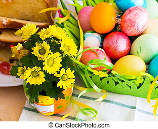 Easter eggs and traditional holiday cake