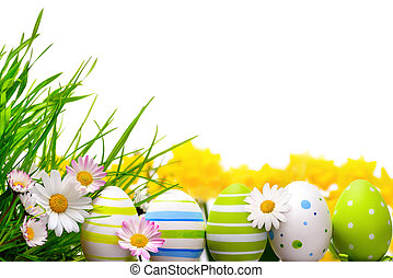 Easter eggs arrangement - Border arranged with Easter eggs, ...