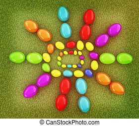 """Easter eggs as a """"Happy Easter"""" greeting on a green grass. 3D illustration. Vintage style."""