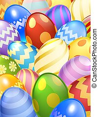 Easter Eggs Background Cartoon