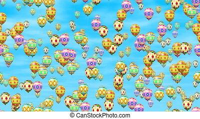 Easter eggs balloons loop video