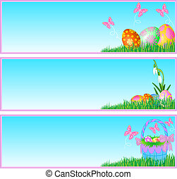 Easter eggs banners - Three vector banners contains the ...