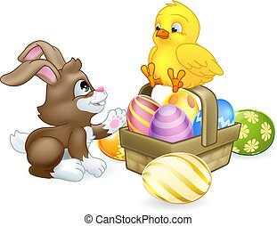 Easter Eggs Basket Bunny Rabbit and Chick Cartoon