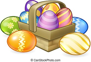 Easter Eggs Basket Hamper Cartoon