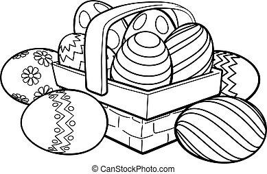 Easter Eggs Basket Hamper Cartoon