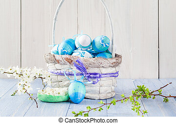 Easter eggs basket spring branches