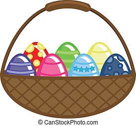 Easter Eggs Basket Vector