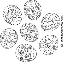 Easter eggs - Black and white vector illustration of...