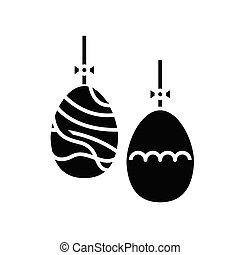 Easter eggs black icon, concept illustration, vector flat symbol, glyph sign.